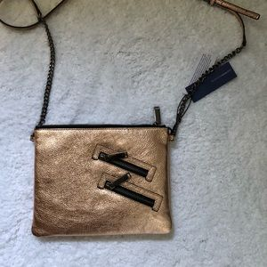 Rose gold leather crossbody